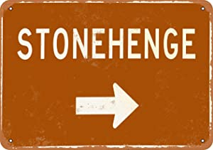 JULYCC Stonehenge This Way Metal Tin Sign Wall Decor Retro Fashion Chic Funny for Bar Cafe Garage Home Outdoor Courtyard 8x12 Inch