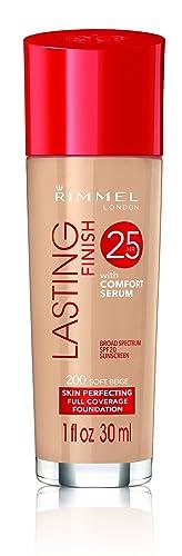 Rimmel London Lasting Finish 25 HR Foundation with Comfort Serum, 200 Soft Beige, 30 ml