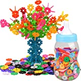 AMOSTING Building Blocks Educational Toys Set Plastic Building Discs Brain Flakes STEM Toys for Preschool Kids Boys and Girls -800pcs with Storage Bottle and 10pcs Axle