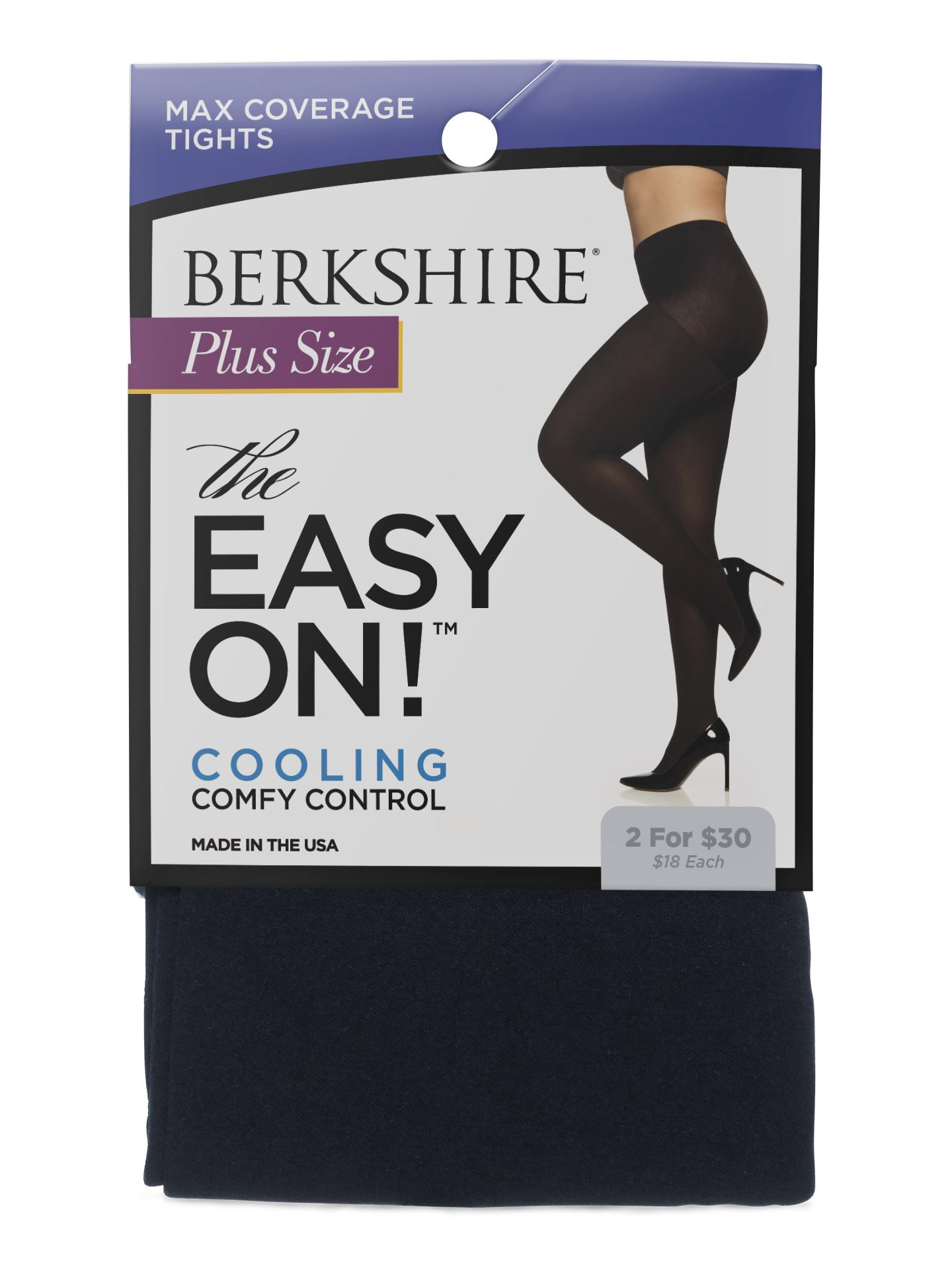 Berkshire Women's Plus Size the Easy on Max Coverage Tights, Navy, Queen Petite