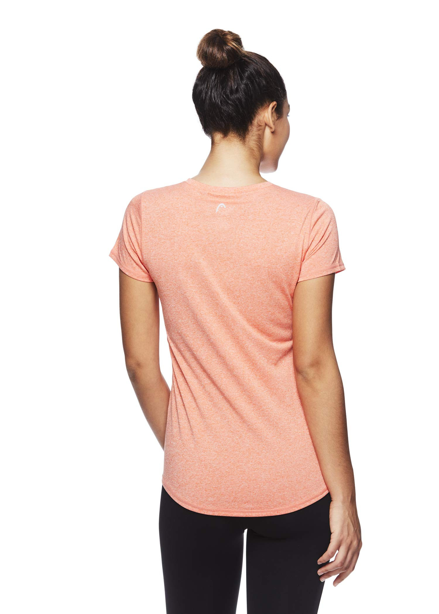 HEAD Women's Brianna Shirred Short Sleeve Workout T-Shirt - Marled Performance Crew Neck Activewear Top - Brianna Peach Echo Heather, X-Small by HEAD (Image #3)