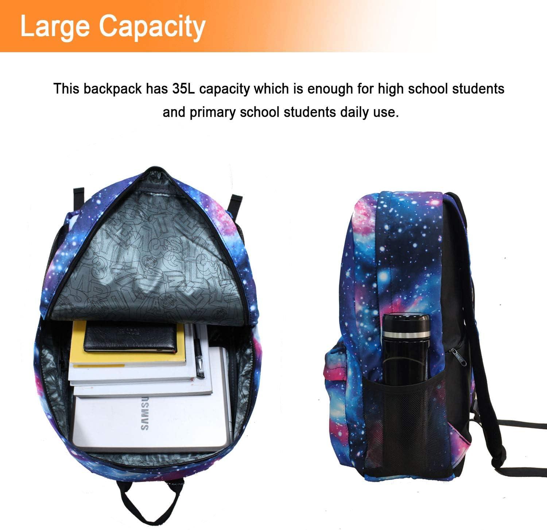 Galaxy School backpackcool Unisexe Toile Sac à dos Anime lumineux Sac à Dos Jour...
