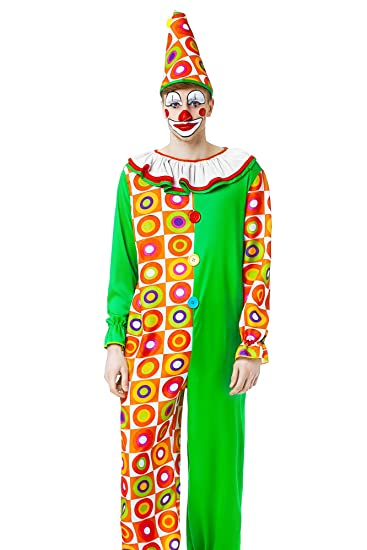 Men's Lollipop Clown Circus Jester Juggler Dress Up & Role Halloween Play Costume (One Size - Fits All)