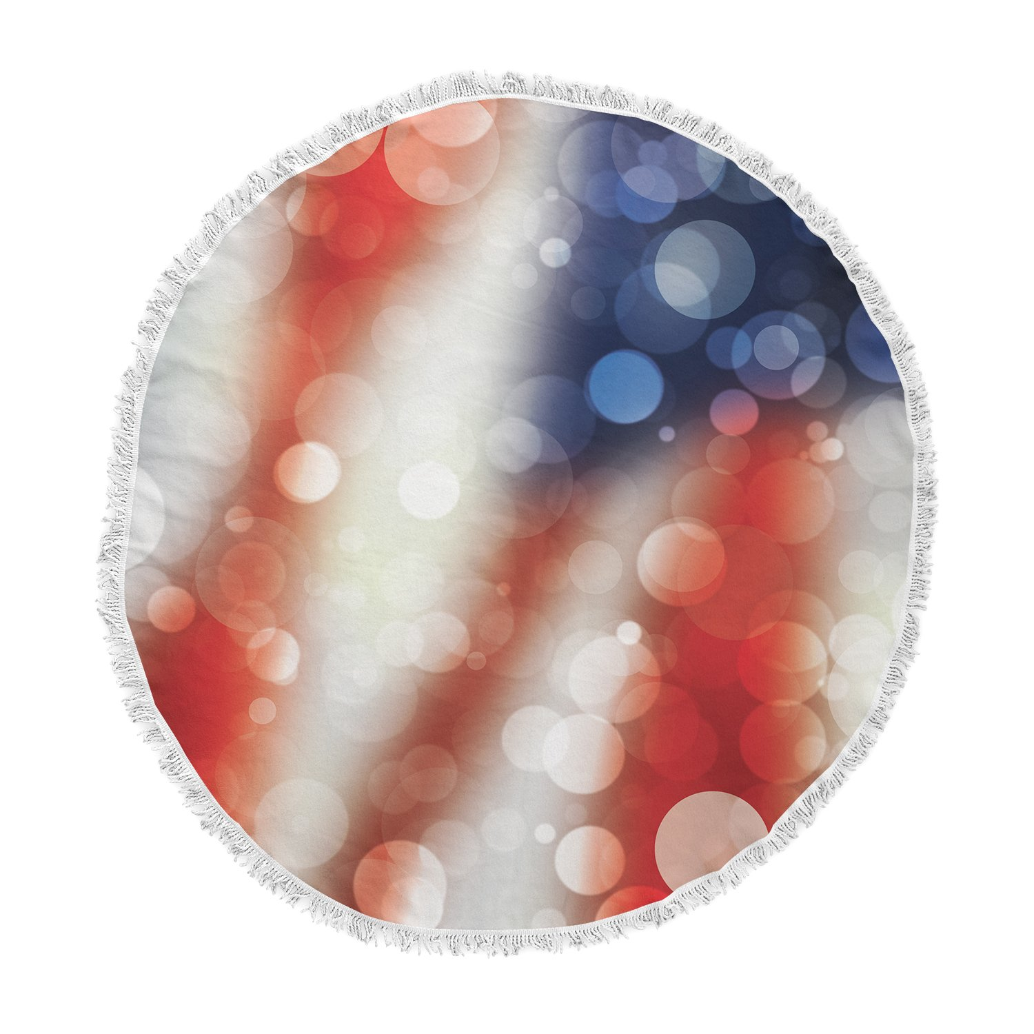 KESS InHouse Original Patriot America Bokeh Round Beach Towel Blanket by Kess InHouse