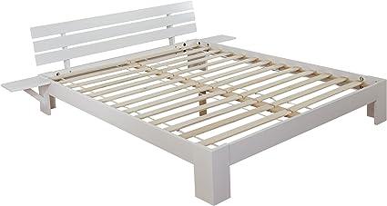 Cama Perth, cama doble, madera maciza incl. SOMIER estante Pino ~ 180 x 200 cm, color blanco lacado