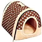 Happy Fd Best Pet Supplies Home Sweet Sofa Non-Slip Dog Cat Igloo Beds Shelter for Dogs Cat Puppy (S(35x30x28cm), Dot)