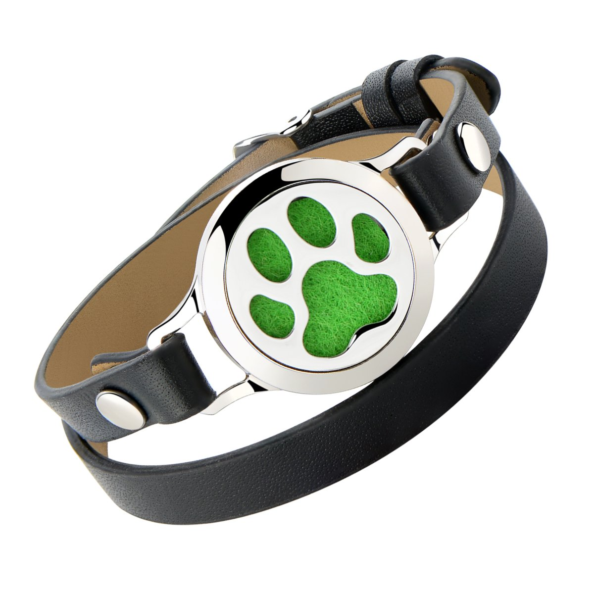 Dog Paw Oil Diffuser Bracelet - Stainless Steel Magnetic Locket Wrap Around Cuff Bangle Colorful Felt Pad Gift Girls Women Teens by AZORA