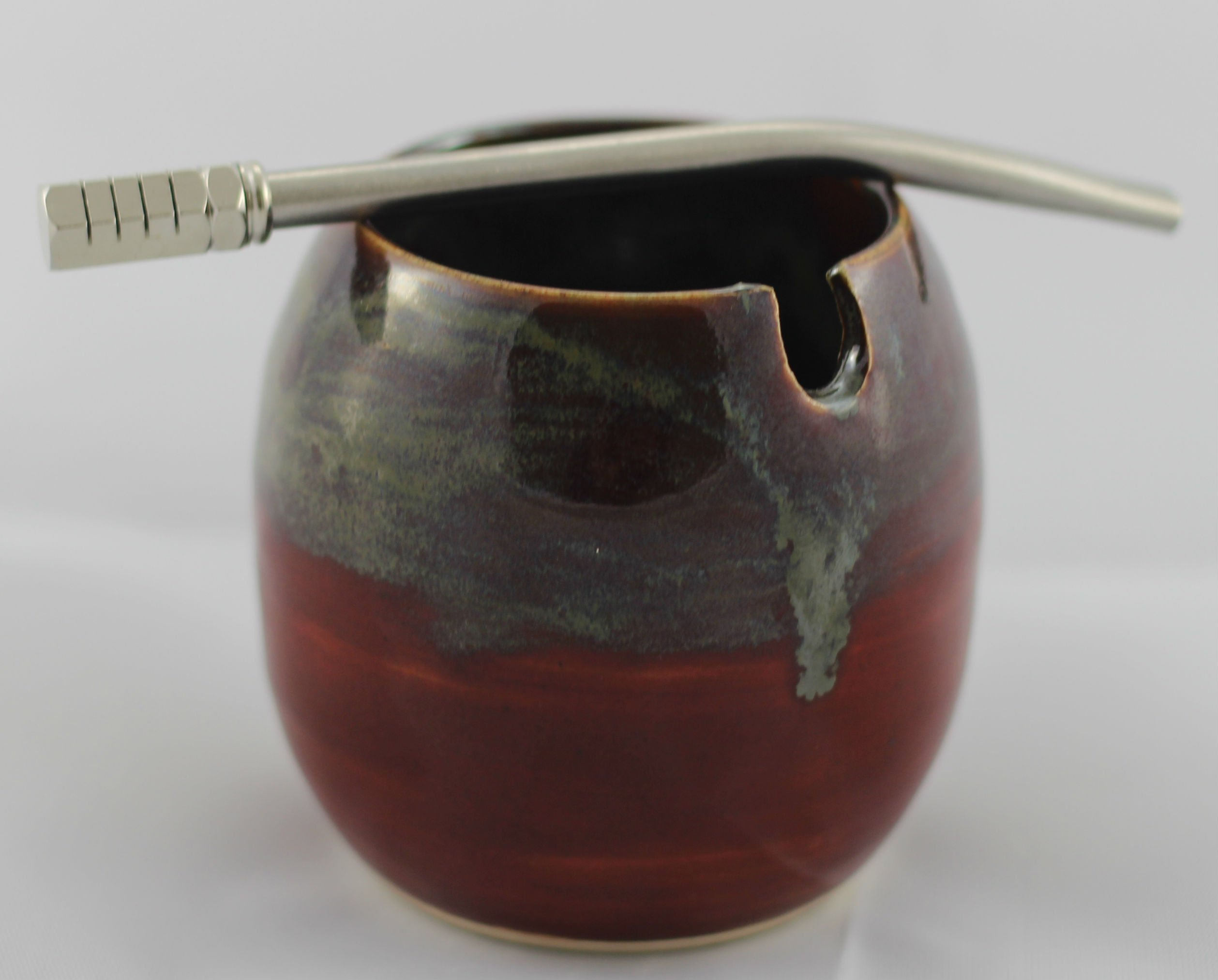 """Ceramic Mate Gourd with Side Hole for Mate Straw aka Yerba Mate Cup Red Mixed Swirl with 5.5"""" Bombilla (Metal Yerba Mate Straw)"""
