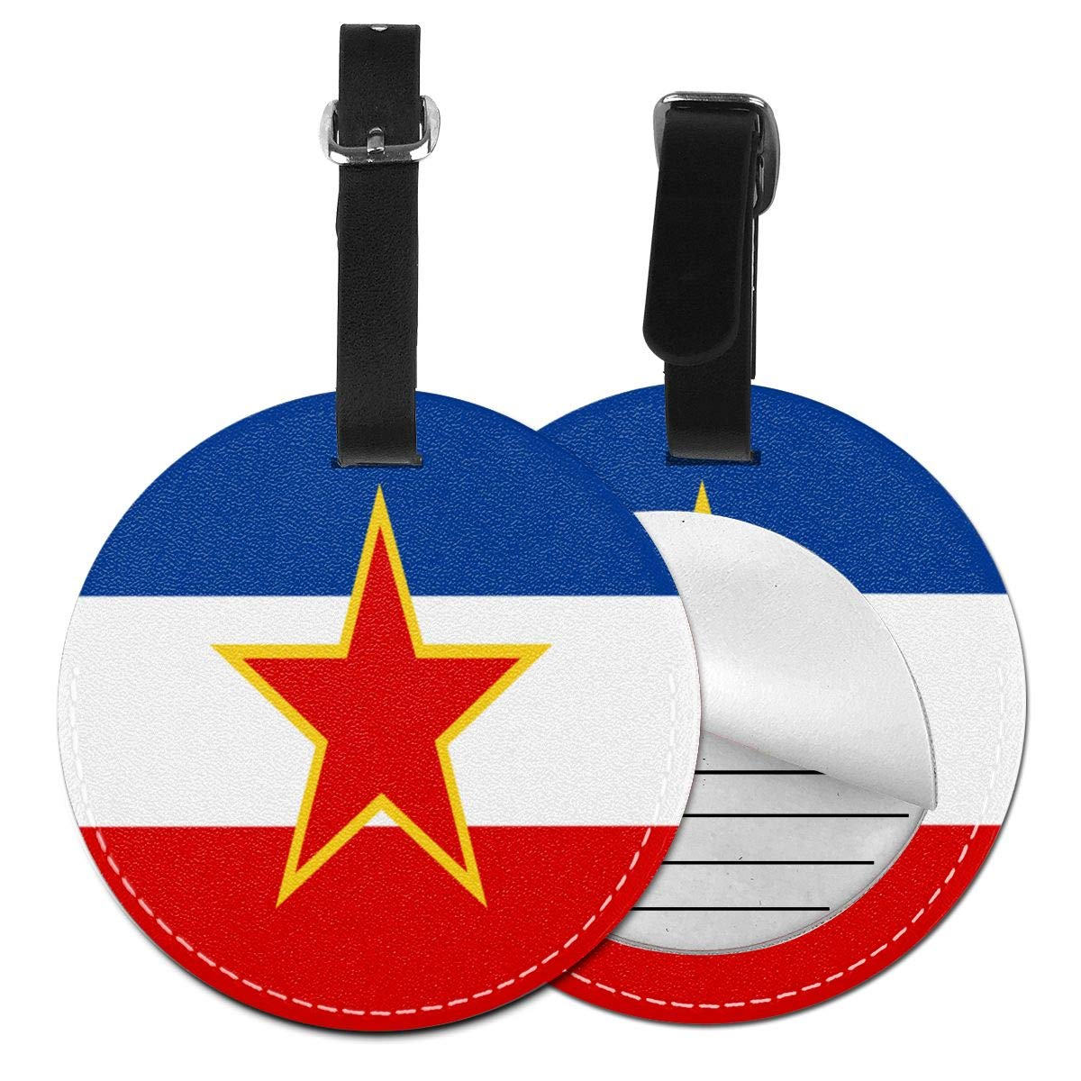 Hs8weyhfffFFF Luggage Tag Round Yugoslavia Flag Leather Luggage Bag Label Privacy Cover Business Travel Bag Label