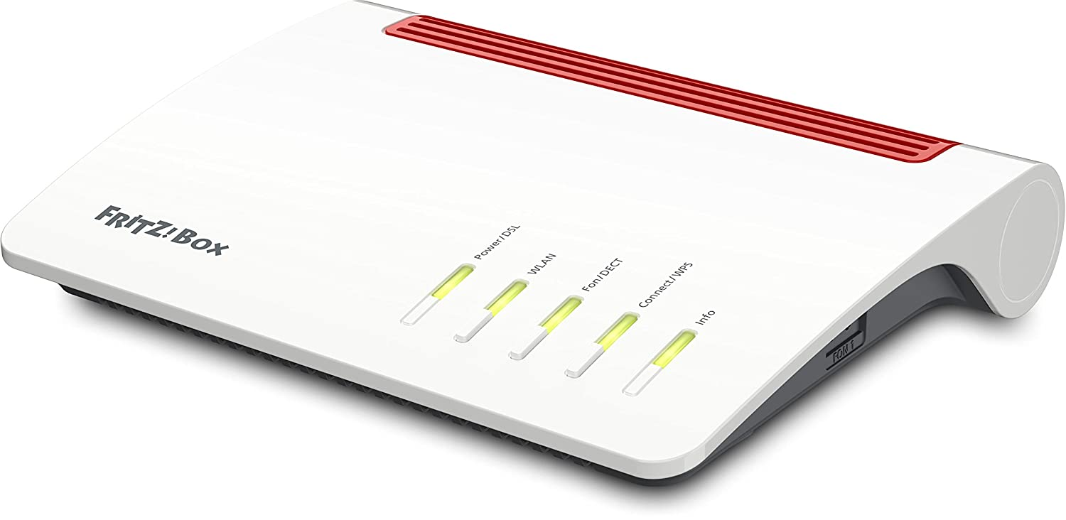 AVM FRITZ!Box 7590 High-End WLAN AC + N Router (VDSL-/ADSL, 4x4 MU-MIMO mit 1.733 (5 GHz) und 800 MBit/s (2,4 GHz), bis zu 300 MBit/s durch VDSL-Supervectoring 35b, DECT-Basis, Media Server)