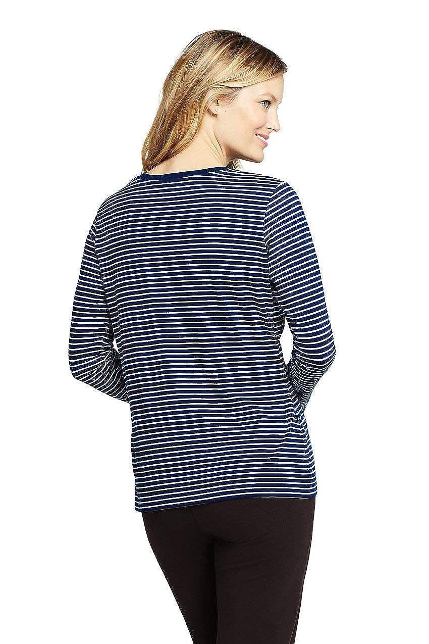Lands End Womens Petite Relaxed Supima Cotton Long Sleeve Crewneck T-Shirt Stripe