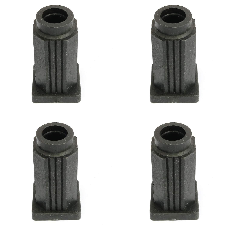 heyous 4PCS Square Caster Socket Sleeve, Plastic Caster Socket Sleeve Round Inserts, Inside Stem, Black