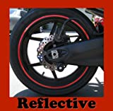 "CaliBikerClub Red Reflective Wheel Rim Stripe Decal Tape for Motorcycle Wheels 17"" or Car Wheels"