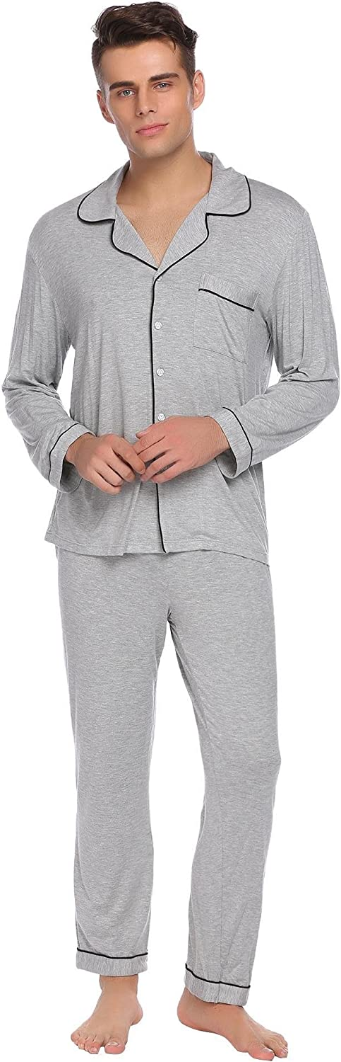 Ekouaer Mens Pajamas Set Cotton Sleepwear Button-Down PJ Sets Mens Leisure Household Life