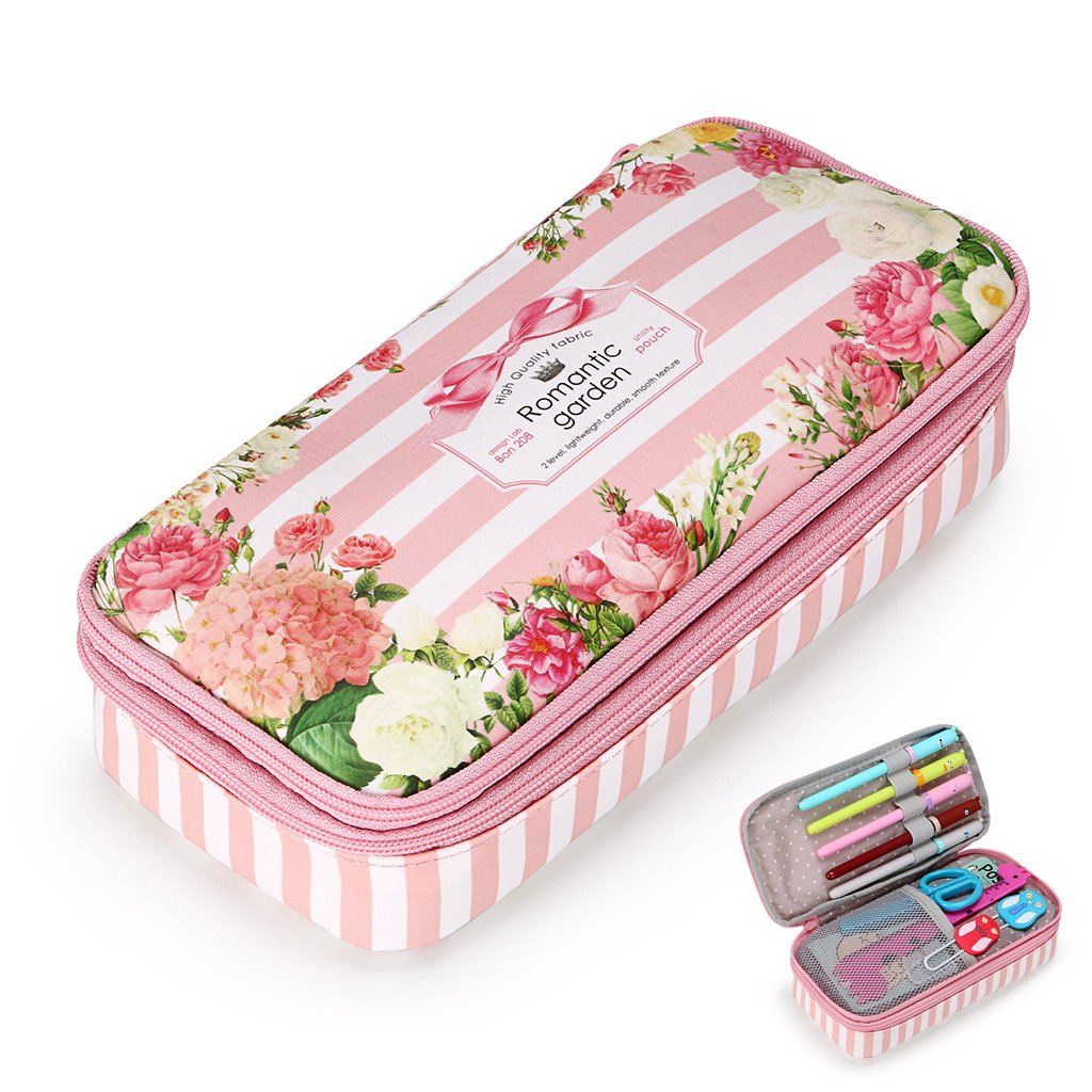 BTSKY Floral Pencil Case with Compartments -High Capacity Double Layers Pencil Pouch Stationery Organizer Multifunction Cosmetic Makeup Bag for Girls, Perfect Holder for Pencils and Pens (Pink)