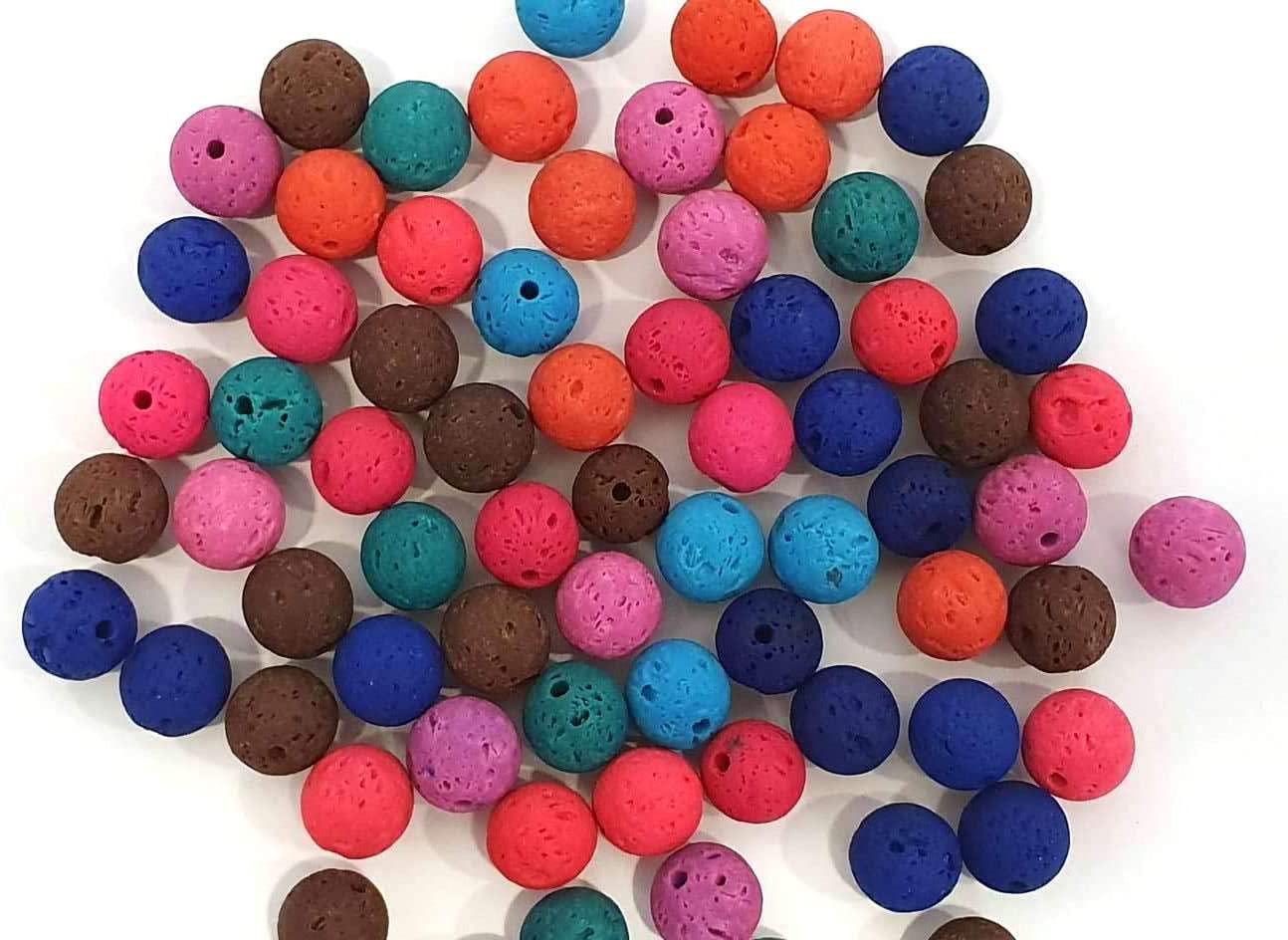 Piedras de lava de 10/8/6 mm, redondas, piedras preciosas naturales, Mix piedras preciosas,6mm 50 Stück