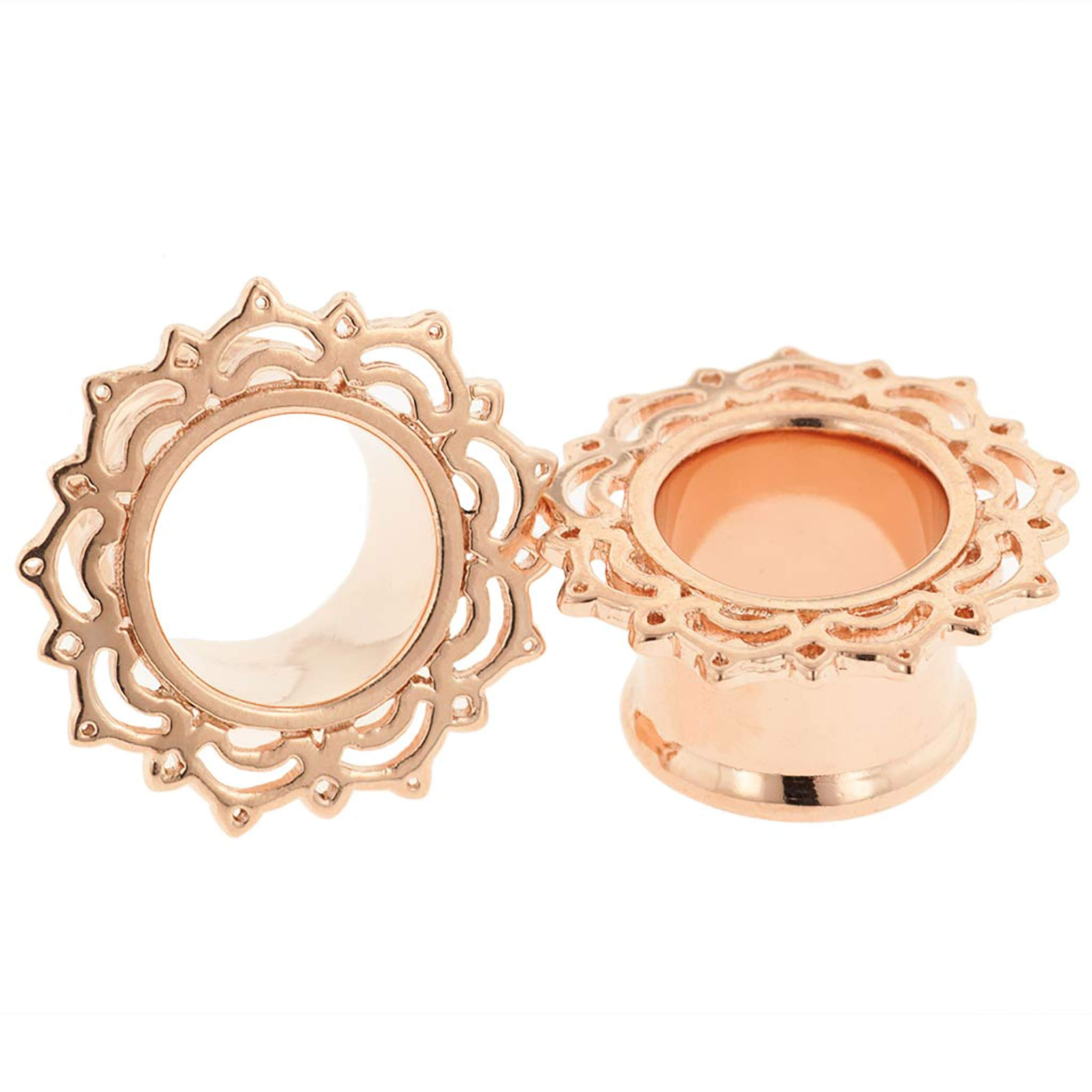 Steel Navel Body Jewelry Pair of Rose Gold Plated Double Flared Lace Lotus Eyelets: 7/16'' by Steel Navel Body Jewelry