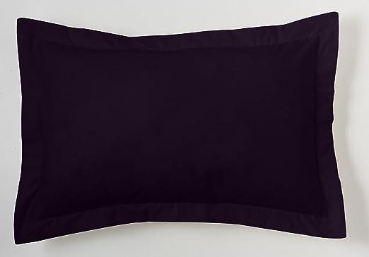 ESTELA - Funda de cojín Combi Lisos Color Negro - Medidas 50x75+5 cm. - 50% Algodón-50% Poliéster - 144 Hilos - Acabado en pestaña