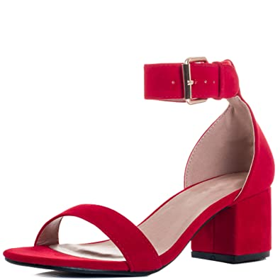 934c531e847d Adjustable Buckle Block Heel Sandals Pumps Shoes Red Suede Style Sz 5