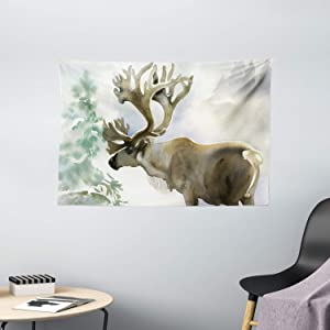 "Ambesonne Antlers Tapestry, Moose in Winter Forest Wildlife Reindeer Christmas Theme Watercolor Painting Style, Wide Wall Hanging for Bedroom Living Room Dorm, 60"" X 40"", Beige Green"
