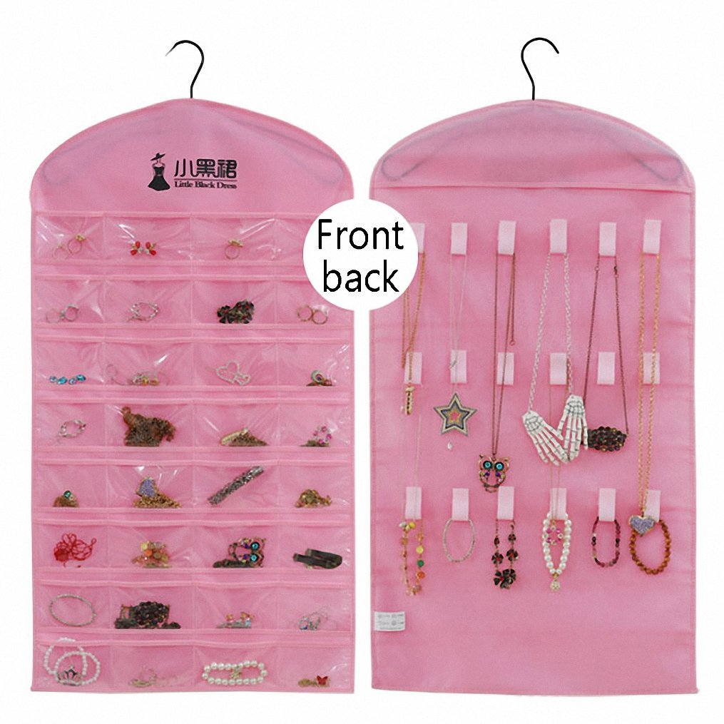 IDecHome Hanging Jewlery Organizer, Dual Sided Pockets Hooks Non-Woven Storage Bag, Pink