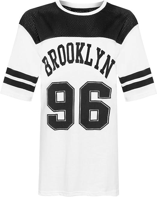 WearAll Mujer Plus Brooklyn 96 Camiseta De Béisbol Impresión mujer Airtech rayas Baggy Camiseta 12 - 30: Amazon.es: Ropa y accesorios