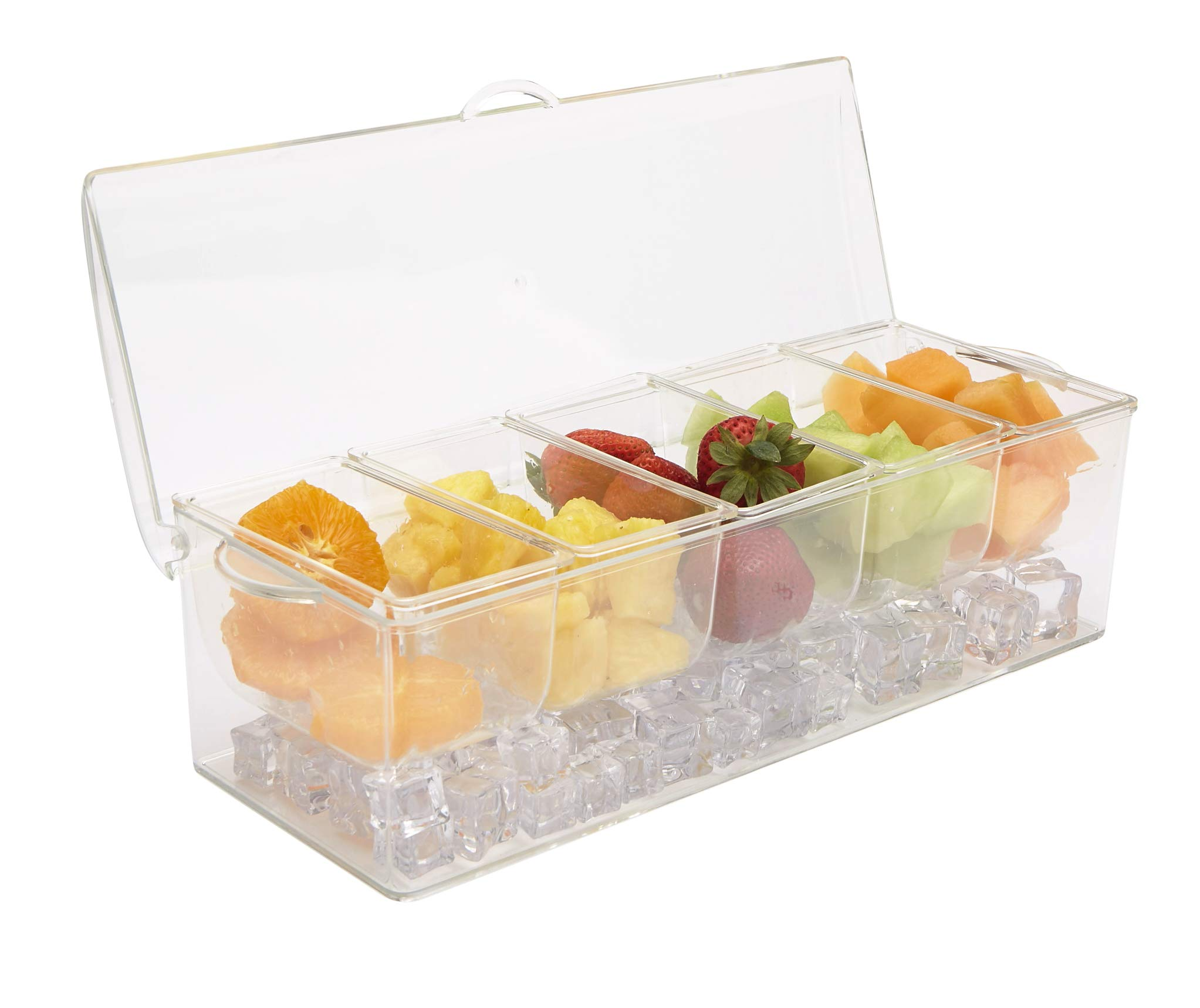 Mind Reader 5SERVE-CLR 5 Compartment Tongs & 3 Spoons, Condiment Container, Chilled Acrylic Serving Tray, Clear, One Size,