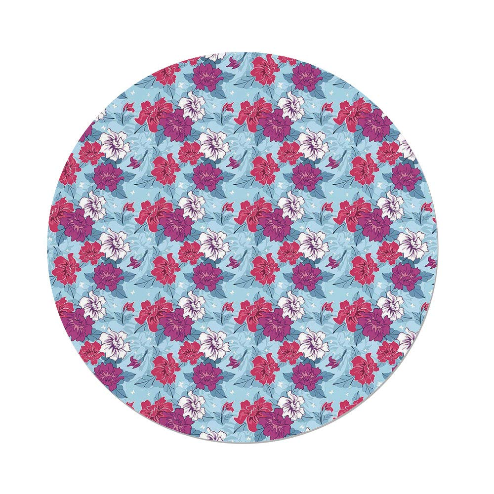 Polyester Round Tablecloth,Floral,Damask Flourish Lively Blooms and Leaves with Little White Butterflies Decorative,Fuchsia Coral Pale Blue,Dining Room Kitchen Picnic Table Cloth Cover,for Outdoor In