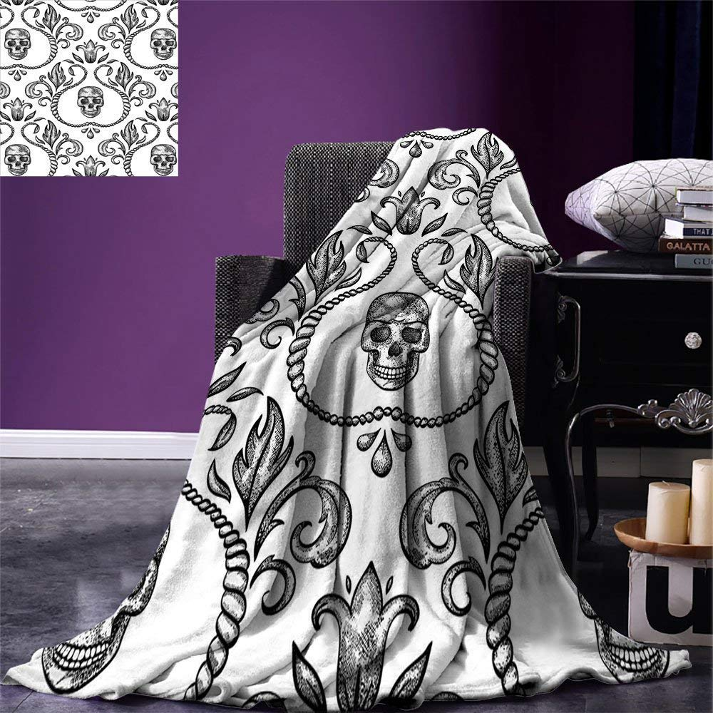 color14 50 x30  SINOVAL Gothic Decor Warm Microfiber All Season Blanket Day of The Dead Illustration with Sugar Skull Girl in Decorative Flower Wreath Print Artwork Image£¬Multicolor,