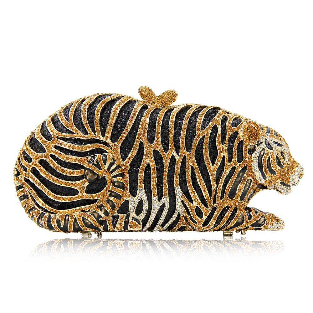 パーティーバッグ 女性 贅沢な 動物 タイガーシェイプ ラインストーンイブニングクラッチバッグ ブライダルウェディングクラッチバッグ 結婚式/休日/オープニング/コンサート/卒業式/婦人服に適しています (Color : Gold) B07HVKBXFW Gold