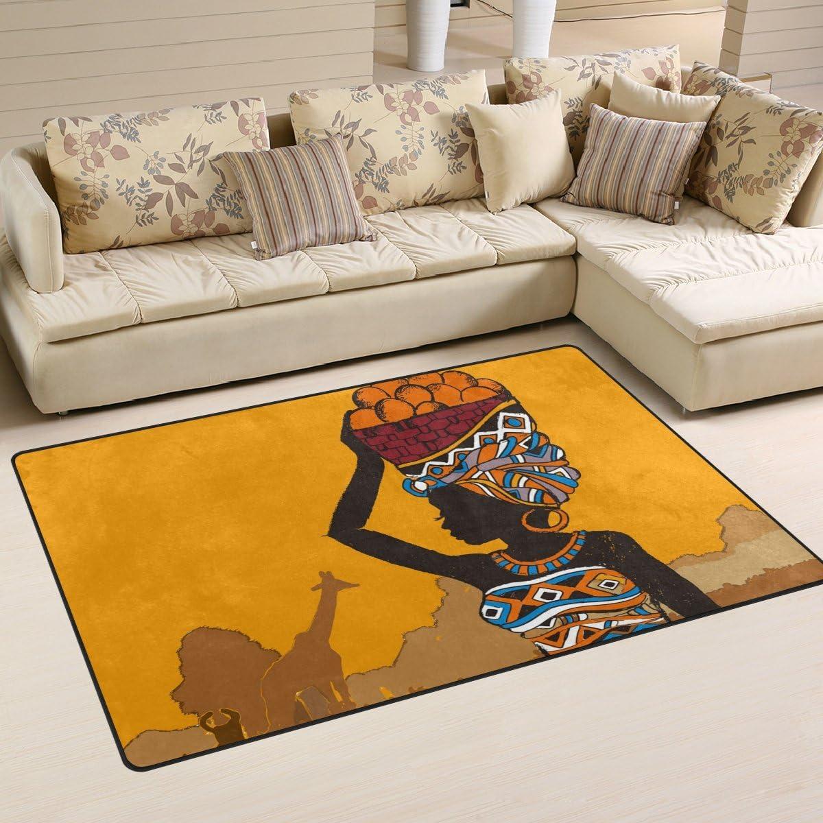 Yochoice Non-Slip Area Rugs Home Decor, Vintage Retro African Beautiful Black Woman Floor Mat Living Room Bedroom Carpets Doormats 60 x 39 inches