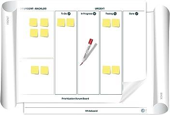 Vi-Board Prioritization Scrum/Whiteboard: beidseitig beschreib- & abwischbares mobiles Whiteboard, einroll- & wiederverwendbar, Vorderseite: Scrum Vorlage, Rückseite: Whiteboard, Gr.: ca. 85 x 118 cm