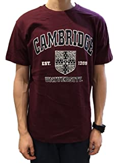 Official Cambridge University T-shirt - Crest - Burgundy- Official Apparel of the Famous