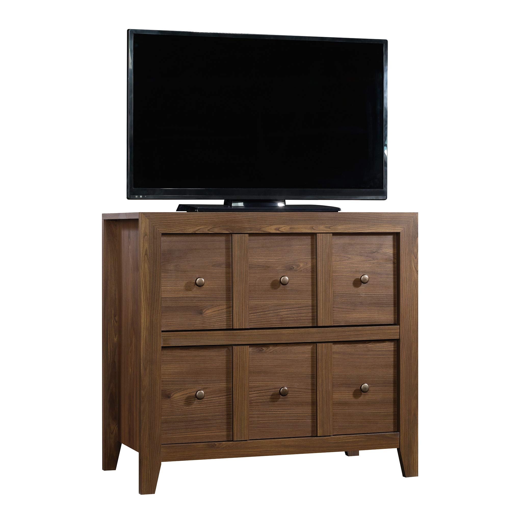Sauder 420571 Dakota Pass Console with File, For TVs up to 42'', Rum Walnut finish