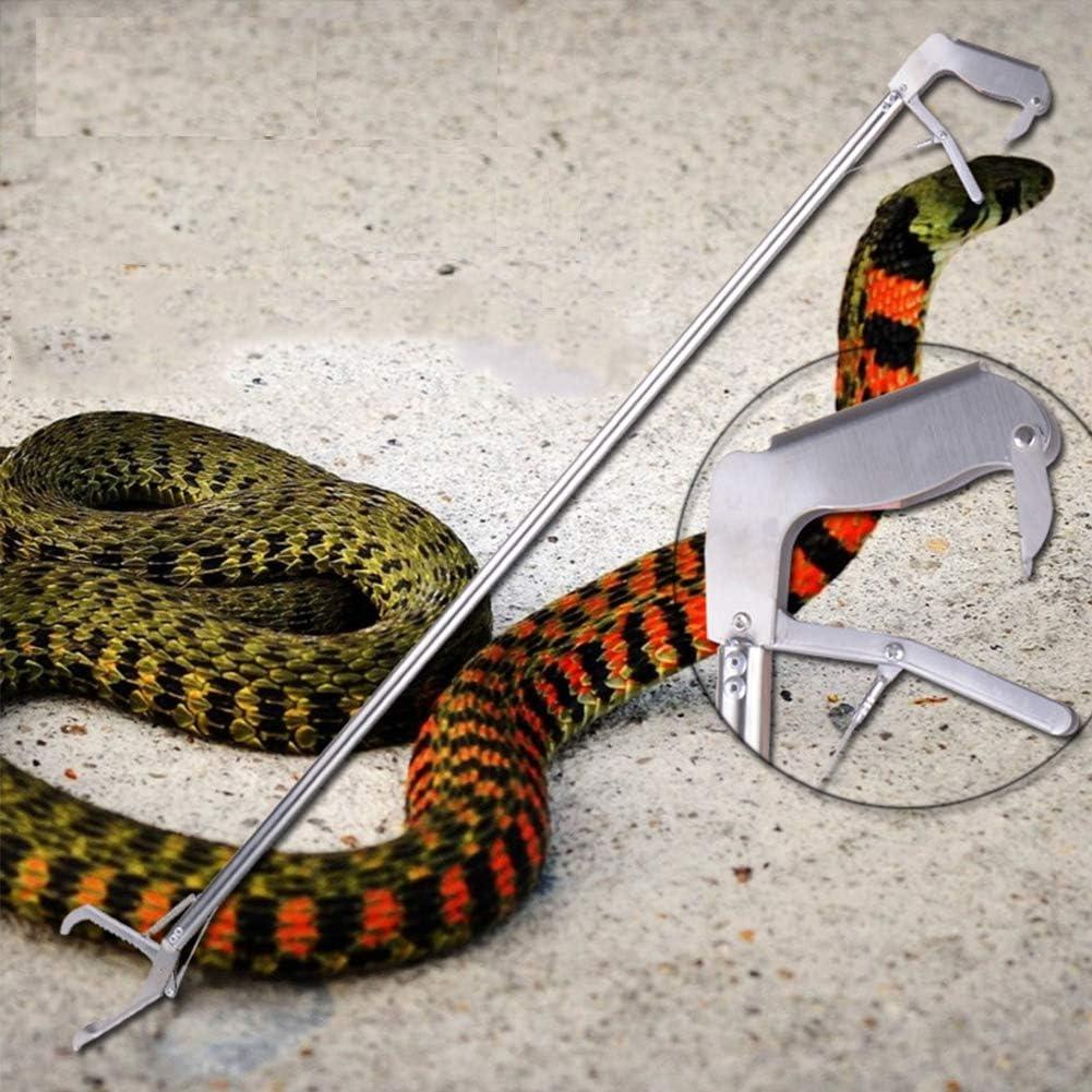 XXDYF Pinzas de Serpiente, Colector de Serpiente Plegable para atrapar manejo Serpientes separadas, con Zigzag mandíbula Ancha, Acero Inoxidable