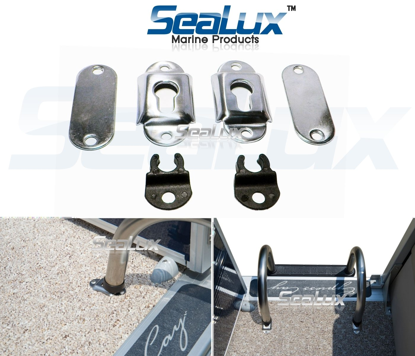 SeaLux Stainless Steel Surface Mounting Sockets /brackets for Removable Folding Transom Ladders/Pontoon/Gunwale Mount Ladders