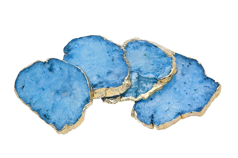 Godinger 16604 Blue Quartz Coasters Brasa Edge - Set of 4   B01KJBVJRM
