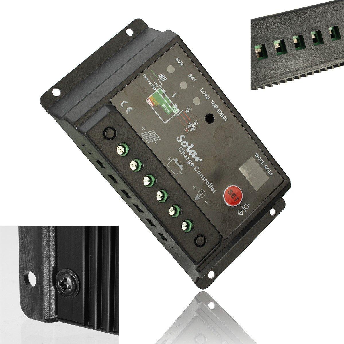 Mohoo 30A Charge Controller Solar Charge Regulator Intelligent USB Port Display 12V-24V