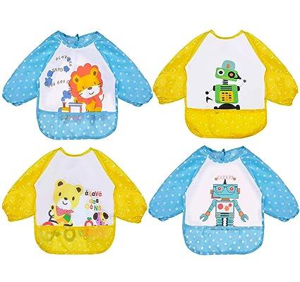 Skroad 4 Pcs Baby Bibs With Sleeves Unisex Waterproof Feeding Bibs For Infant T