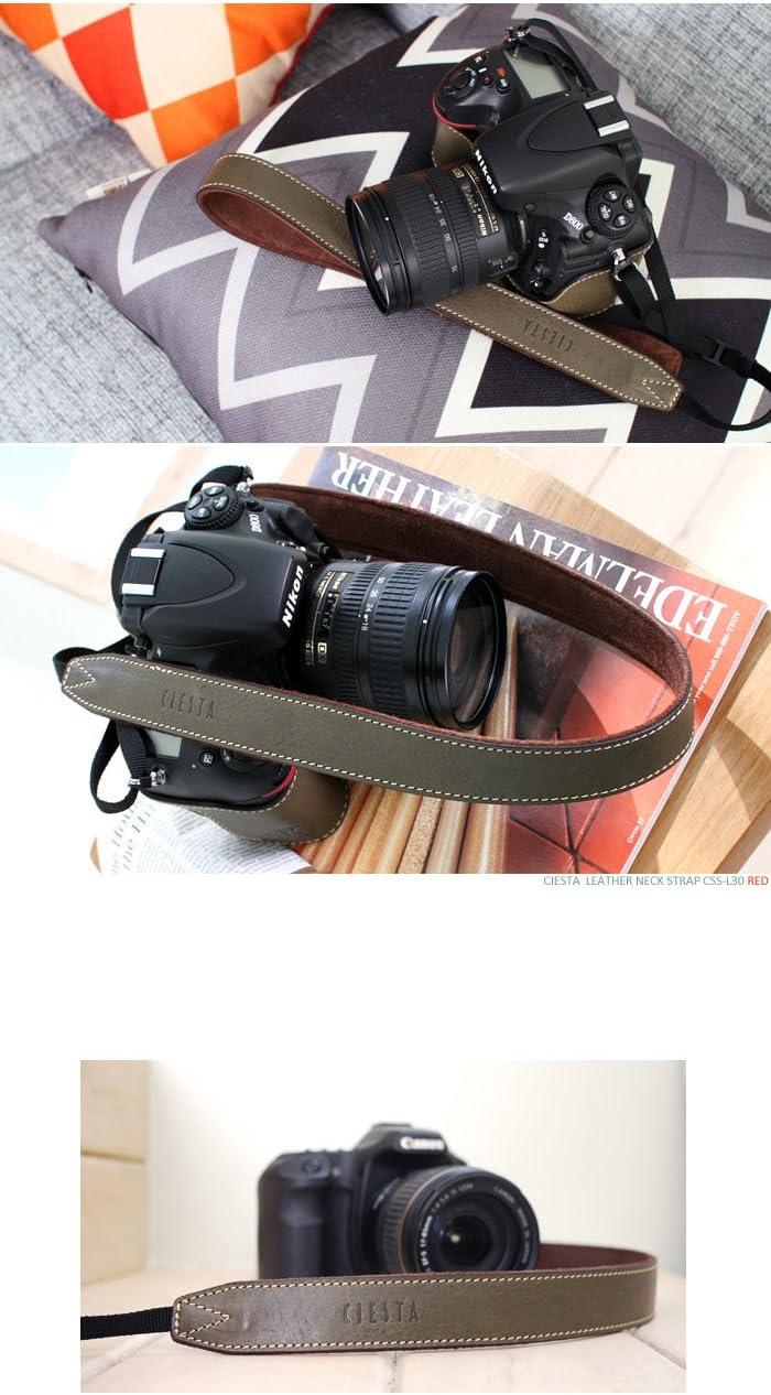 Minerva Khaki Ciesta CSS-L30-A10 Leather Camera Strap L30 for DSLR Compact Mirrorless Camera
