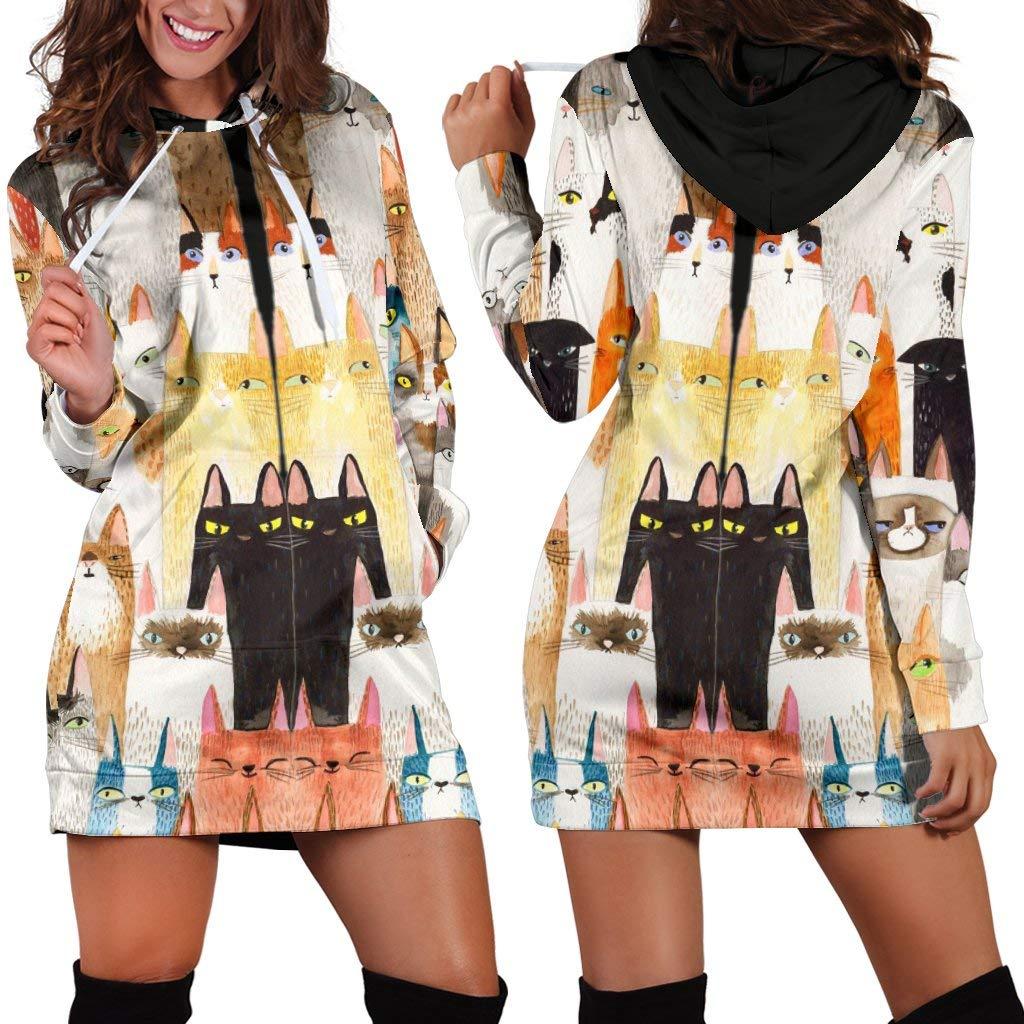 Barn smile Women Long Sleeve Sweatshirt Dress Hoodie  Cat Cute Painting