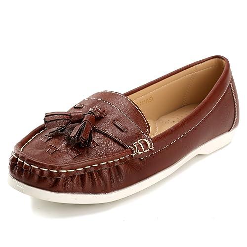 Alexis Leroy - Mocasines planos con borlas para mujer Marrón 40 EU / 7 UK: Amazon.es: Zapatos y complementos