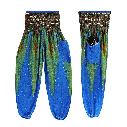 DEELIN Pantalones De Yoga, Hombres Mujeres Suelta Pavo Real Impreso Pantalones De Harén Tailandeses Festival Boho Hippy Smock Pantalones De Yoga De Cintura ...
