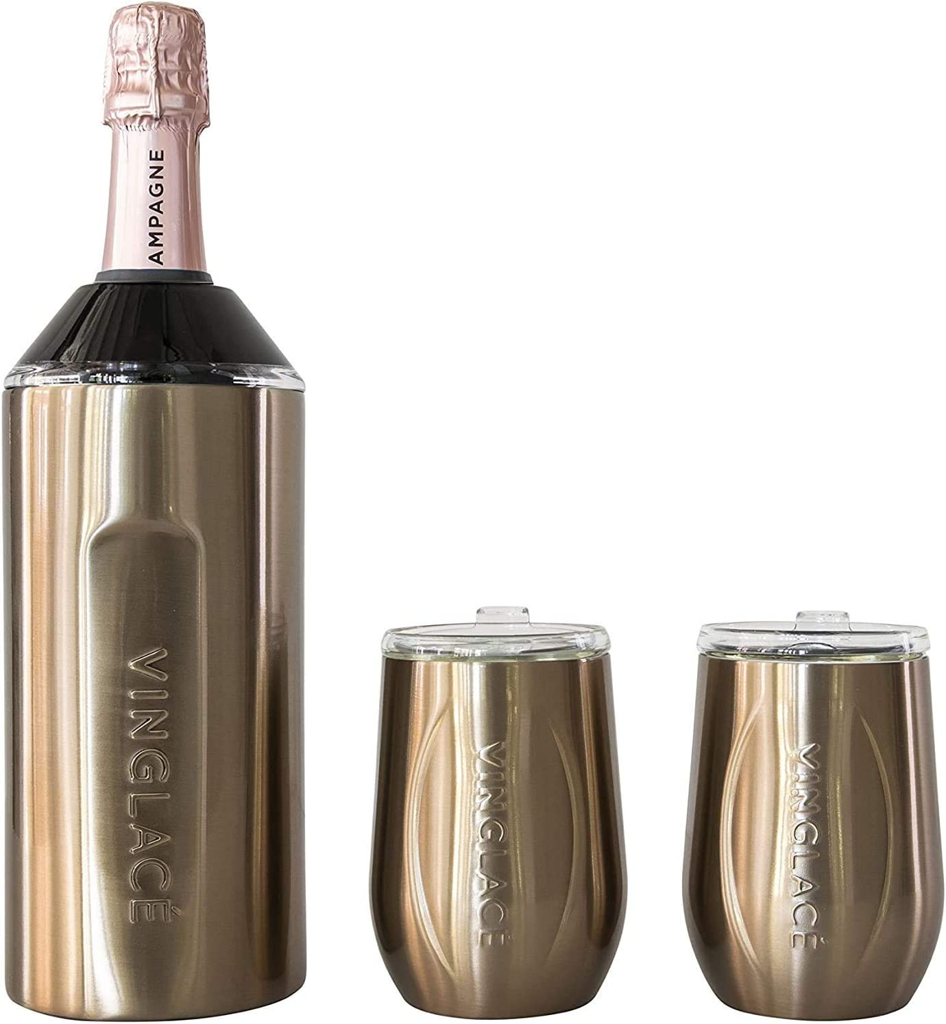 Vinglacé Gift Set - Bottle Insulator Chiller with 2 Stemless Wine Glasses - Great Gift Ideas for Wine and Champagne Lovers (Copper)