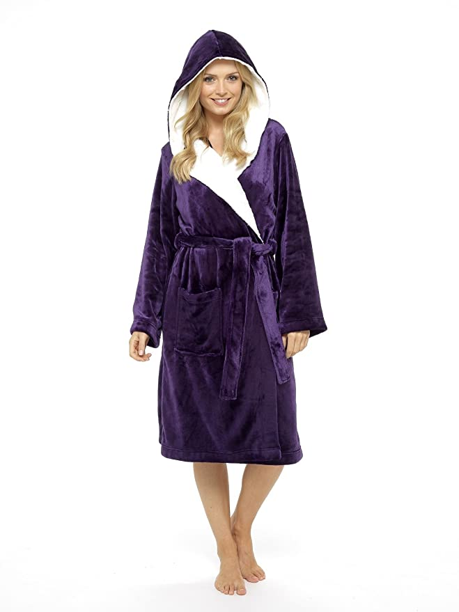 0559710fcd229 CityComfort® Luxury Dressing Gown Ladies Super Soft Robe with Fur Lined  Hood Plush Bathrobe for Women (Pink & Purple): Amazon.co.uk: Clothing