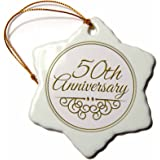 3dRose orn_154492_1 50th Anniversary Gift Gold Text for Celebrating Wedding Anniversaries Snowflake Porcelain Ornament, 3-Inch
