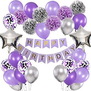 Birthday Decorations for Girls Purple and Silver Lavender Party Decor Kit for Her Women Including Happy Birthday Banner Pompom Flower Foil Balloons Confetti Latex Balloon Ribbons