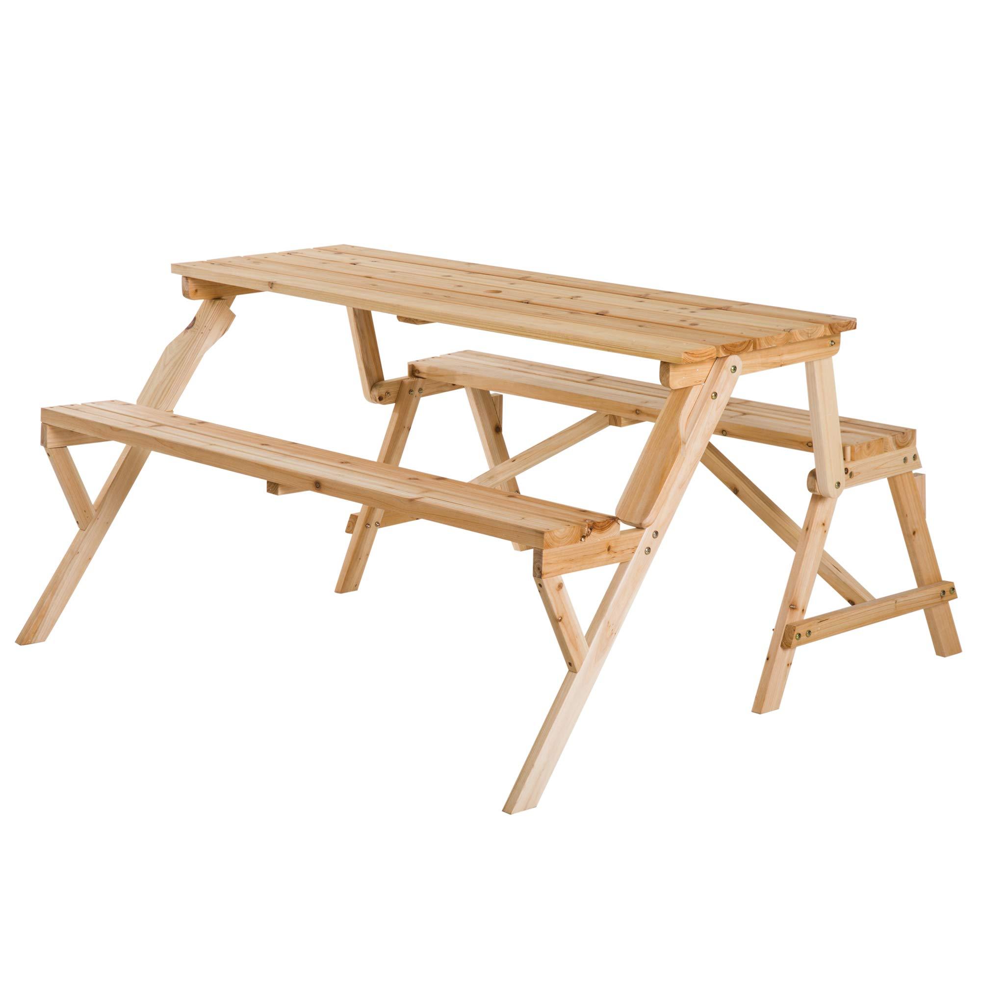 Outsunny Wood 2-in-1 Convertible Picnic Table Garden Bench Folding With Parasol Hole Patio Outdoor Furniture- Buy Online In El Salvador At Elsalvador.desertcart.com. ProductId : 120943063.