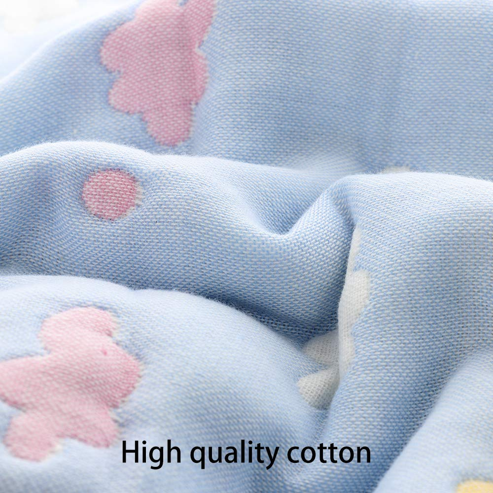 6 Layer Muslin Blankets,Throw Weighted Blanket Perfect Infant Newborn Girl Boy Shower Gift Blue UNIE 59x79Premium Toddler Blankets