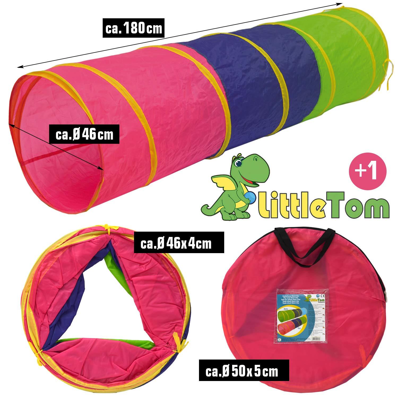 LittleTom Túnel de Juguete 180x46cm para niños pequeños de Lona